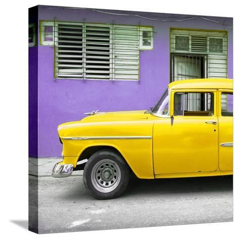 Cuba Fuerte Collection SQ - Vintage Cuban Yellow Car-Philippe Hugonnard-Stretched Canvas Print