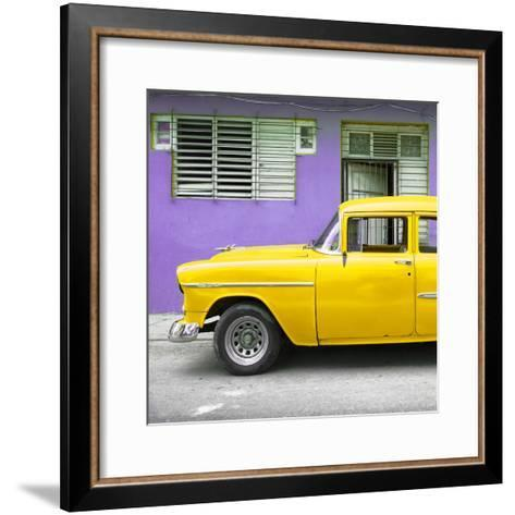 Cuba Fuerte Collection SQ - Vintage Cuban Yellow Car-Philippe Hugonnard-Framed Art Print
