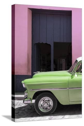 Cuba Fuerte Collection - Retro Lime Green Car II-Philippe Hugonnard-Stretched Canvas Print