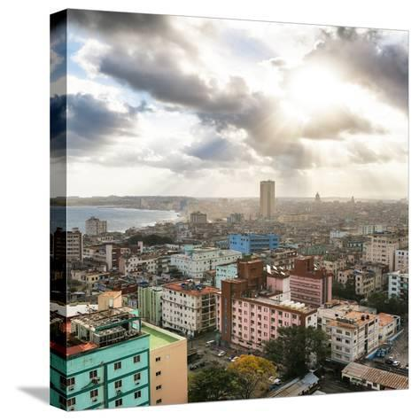 Cuba Fuerte Collection SQ - Rays of light on Havana-Philippe Hugonnard-Stretched Canvas Print