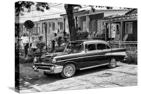 Cuba Fuerte Collection B&W - American Classic Car - Chevrolet II-Philippe Hugonnard-Stretched Canvas Print