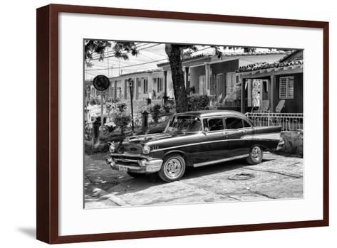 Cuba Fuerte Collection B&W - American Classic Car - Chevrolet II-Philippe Hugonnard-Framed Art Print