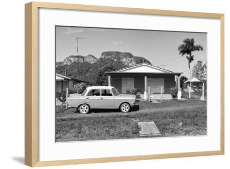 Cuba Fuerte Collection B&W - Classic car in Vinales Valley-Philippe Hugonnard-Framed Art Print
