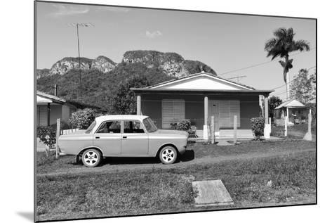 Cuba Fuerte Collection B&W - Classic car in Vinales Valley-Philippe Hugonnard-Mounted Photographic Print