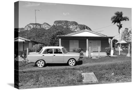 Cuba Fuerte Collection B&W - Classic car in Vinales Valley-Philippe Hugonnard-Stretched Canvas Print