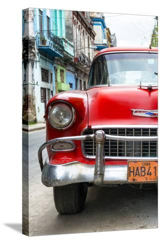 Cuba Fuerte Collection - Detail on Red Classic Chevy-Philippe Hugonnard-Stretched Canvas Print