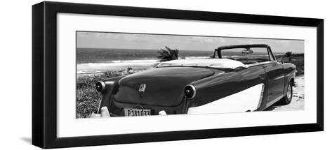 Cuba Fuerte Collection Panoramic BW - Cabriolet Classic Car II-Philippe Hugonnard-Framed Art Print
