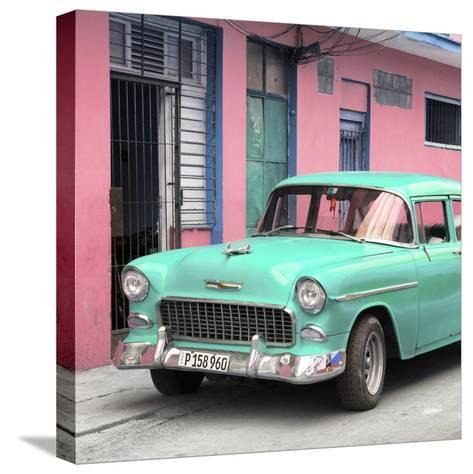 Cuba Fuerte Collection SQ - Classic American Turquoise Car in Havana-Philippe Hugonnard-Stretched Canvas Print