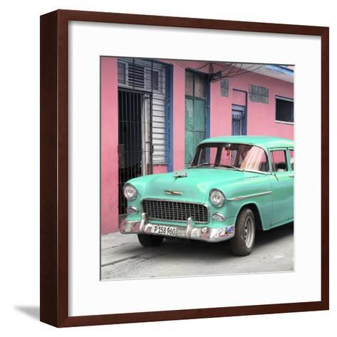 Cuba Fuerte Collection SQ - Classic American Turquoise Car in Havana-Philippe Hugonnard-Framed Art Print