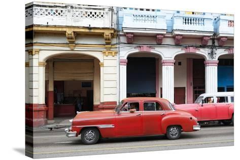 Cuba Fuerte Collection - Havana Red Car-Philippe Hugonnard-Stretched Canvas Print
