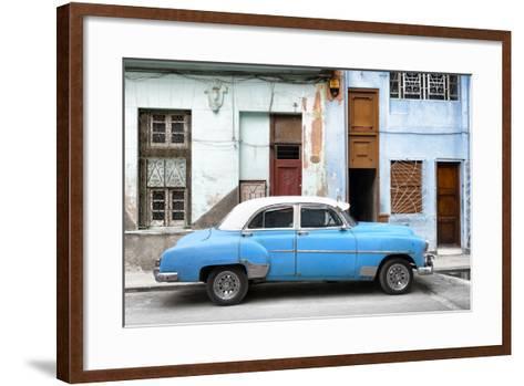 Cuba Fuerte Collection - Havana's Blue Vintage Car-Philippe Hugonnard-Framed Art Print