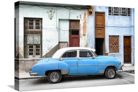 Cuba Fuerte Collection - Havana's Blue Vintage Car-Philippe Hugonnard-Stretched Canvas Print