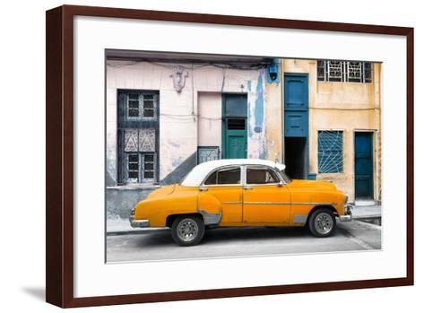 Cuba Fuerte Collection - Havana's Orange Vintage Car-Philippe Hugonnard-Framed Art Print