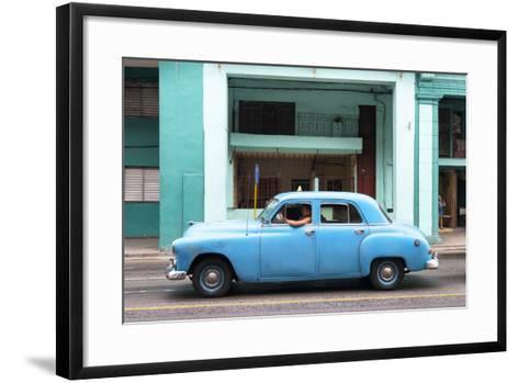 Cuba Fuerte Collection - Blue Taxi Car-Philippe Hugonnard-Framed Art Print