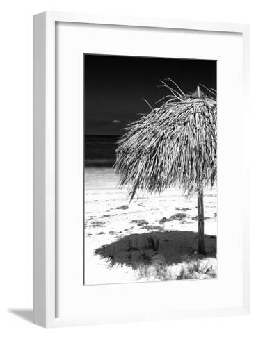 Cuba Fuerte Collection B&W - Tropical Beach Umbrella IV-Philippe Hugonnard-Framed Art Print