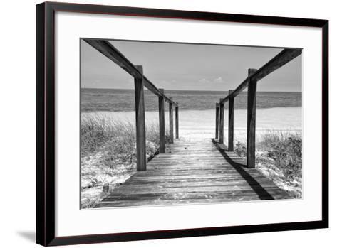 Cuba Fuerte Collection B&W - Wooden Pier on Tropical Beach II-Philippe Hugonnard-Framed Art Print