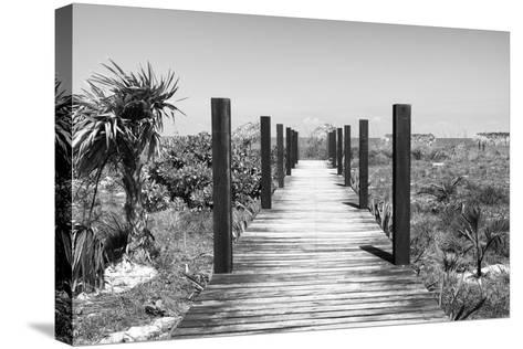 Cuba Fuerte Collection B&W - Wooden Pier on Tropical Beach-Philippe Hugonnard-Stretched Canvas Print