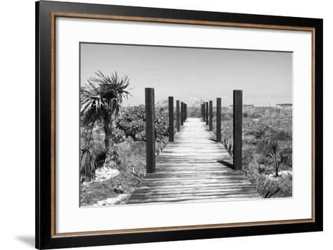 Cuba Fuerte Collection B&W - Wooden Pier on Tropical Beach-Philippe Hugonnard-Framed Art Print