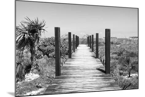 Cuba Fuerte Collection B&W - Wooden Pier on Tropical Beach-Philippe Hugonnard-Mounted Photographic Print