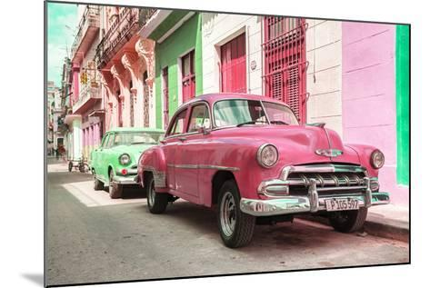 Cuba Fuerte Collection - Two Chevrolet Cars Pink and Green-Philippe Hugonnard-Mounted Photographic Print