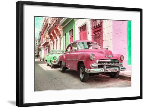 Cuba Fuerte Collection - Two Chevrolet Cars Pink and Green-Philippe Hugonnard-Framed Art Print