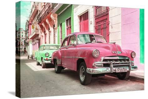 Cuba Fuerte Collection - Two Chevrolet Cars Pink and Green-Philippe Hugonnard-Stretched Canvas Print