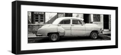 Cuba Fuerte Collection Panoramic BW - Havana's Vintage Car-Philippe Hugonnard-Framed Art Print