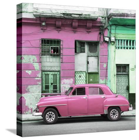Cuba Fuerte Collection SQ - Pink Vintage American Car in Havana-Philippe Hugonnard-Stretched Canvas Print