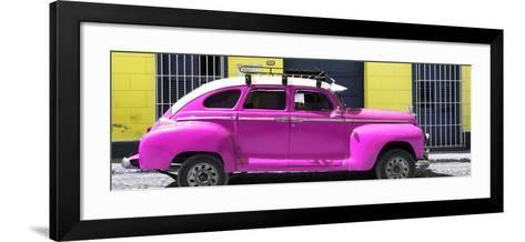 Cuba Fuerte Collection Panoramic - Deep Pink Vintage Car-Philippe Hugonnard-Framed Art Print