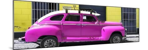 Cuba Fuerte Collection Panoramic - Deep Pink Vintage Car-Philippe Hugonnard-Mounted Photographic Print