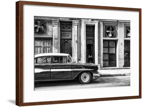 Cuba Fuerte Collection B&W - Classic Car in Central Havana Street II-Philippe Hugonnard-Framed Art Print
