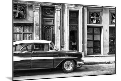 Cuba Fuerte Collection B&W - Classic Car in Central Havana Street II-Philippe Hugonnard-Mounted Photographic Print