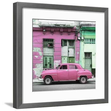 Cuba Fuerte Collection SQ - Pink Vintage American Car in Havana-Philippe Hugonnard-Framed Art Print
