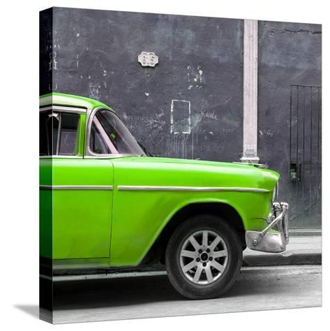 Cuba Fuerte Collection SQ - 615 Street and Green Car-Philippe Hugonnard-Stretched Canvas Print