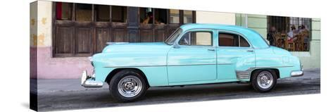 Cuba Fuerte Collection Panoramic - Havana Club and Blue Classic Car-Philippe Hugonnard-Stretched Canvas Print