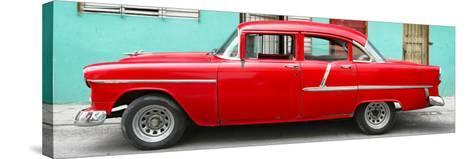 Cuba Fuerte Collection Panoramic - Classic American Red Car in Havana-Philippe Hugonnard-Stretched Canvas Print