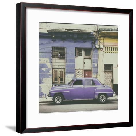 Cuba Fuerte Collection SQ - Purple Vintage American Car in Havana-Philippe Hugonnard-Framed Art Print