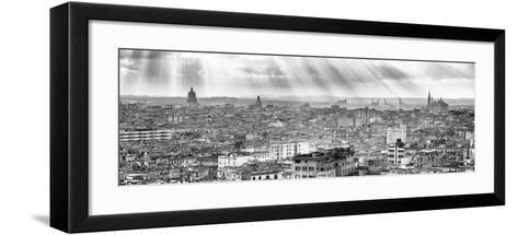Cuba Fuerte Collection Panoramic BW - Rays of light on Havana II-Philippe Hugonnard-Framed Art Print
