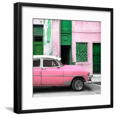 Cuba Fuerte Collection SQ - Havana's Pink Vintage Car-Philippe Hugonnard-Framed Art Print