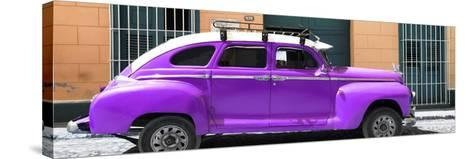 Cuba Fuerte Collection Panoramic - Purple Vintage Car-Philippe Hugonnard-Stretched Canvas Print