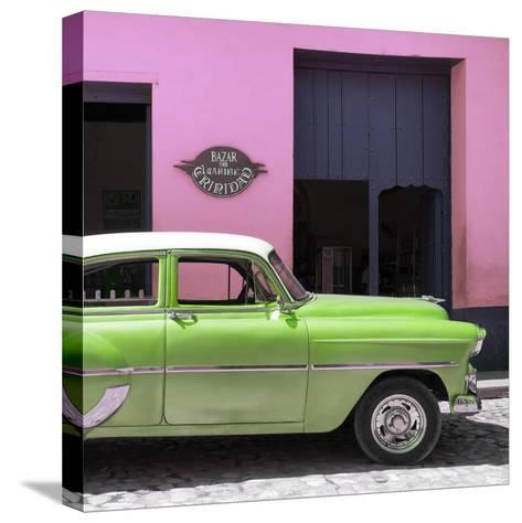 Cuba Fuerte Collection SQ - Retro Lime Green Car-Philippe Hugonnard-Stretched Canvas Print