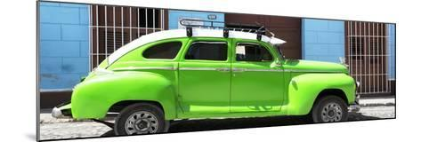 Cuba Fuerte Collection Panoramic - Green Vintage Car-Philippe Hugonnard-Mounted Photographic Print