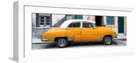Cuba Fuerte Collection Panoramic - Havana's Orange Vintage Car-Philippe Hugonnard-Framed Art Print