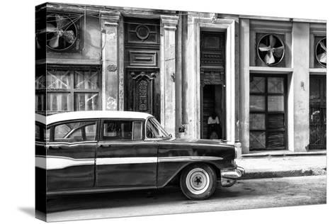 Cuba Fuerte Collection B&W - Classic Car in Central Havana Street II-Philippe Hugonnard-Stretched Canvas Print