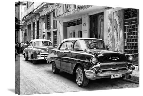 Cuba Fuerte Collection B&W - Vintage Chevrolet Classic Car-Philippe Hugonnard-Stretched Canvas Print