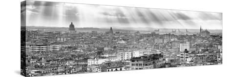 Cuba Fuerte Collection Panoramic BW - Rays of light on Havana II-Philippe Hugonnard-Stretched Canvas Print
