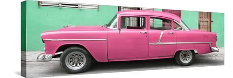 Cuba Fuerte Collection Panoramic - Classic American Pink Car in Havana-Philippe Hugonnard-Stretched Canvas Print