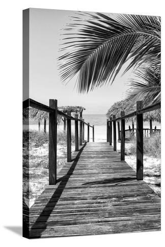 Cuba Fuerte Collection B&W - Wooden Pier on Tropical Beach IX-Philippe Hugonnard-Stretched Canvas Print