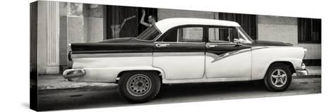 Cuba Fuerte Collection Panoramic BW - American Classic Car in Havana-Philippe Hugonnard-Stretched Canvas Print