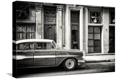 Cuba Fuerte Collection B&W - Classic Car in Central Havana Street-Philippe Hugonnard-Stretched Canvas Print
